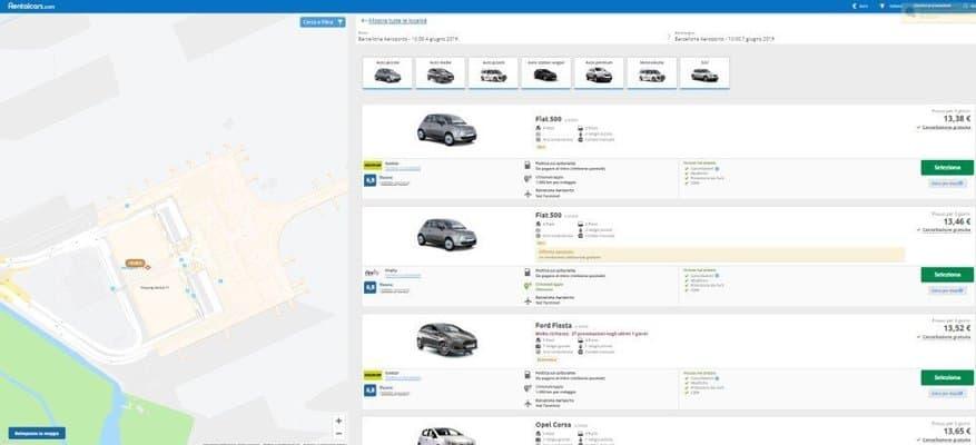 Rentalcars auto disponibili